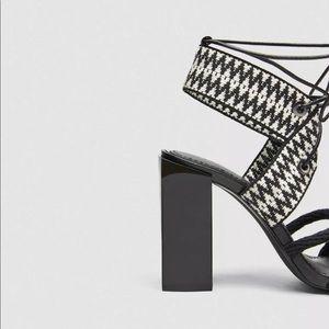 Zara Shoes - NWOT Zara Black Print Block Heel Sandals. Size 38